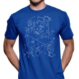 Exploded Modern Workspace Men's Graphic Tee (White Print)