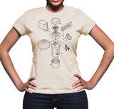 Exploded Pumpkin Spice Latte Women's Graphic Tee (Black Print)