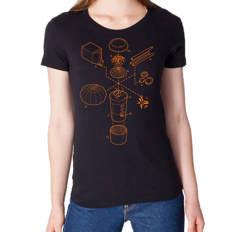 Exploded Pumpkin Spice Latte Women's Graphic Tee (Orange Print)