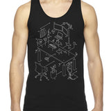 Exploded Modern Workspace Unisex Tank Top
