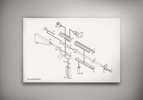 Exploded Ar 15 Semi Automatic Rifle Poster Art Print Exploded Designs