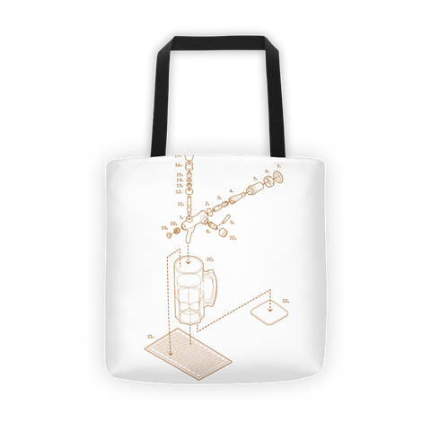 Exploded Beer Tap and Mug Tote Bag