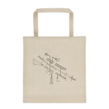 Exploded AR-15 Semi-Automatic Rifle Tote Bag