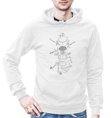 Exploded Grilling Unisex Fleece Pullover Hoodie