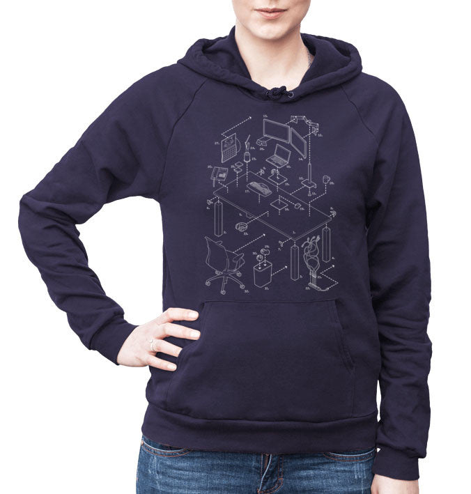 50017458 Exploded Modern Workspace Unisex Fleece Pullover Hoodie – Exploded Designs