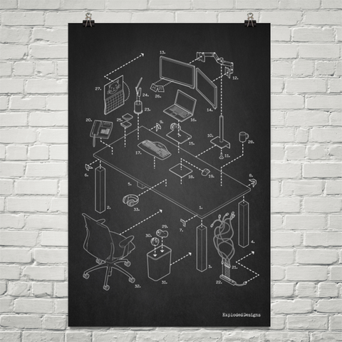 Exploded Modern Work Space Poster Art Print