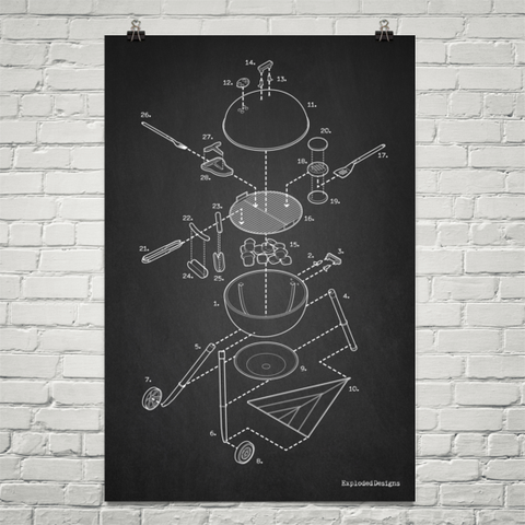 Exploded Grilling Poster Art Print
