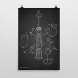 Exploded French Press Poster Art Print