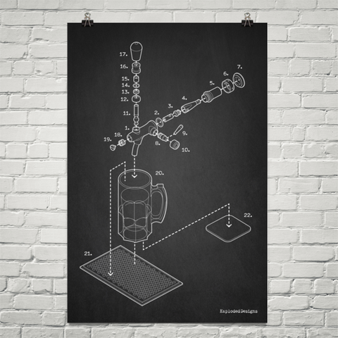Exploded Beer Tap and Mug Poster Art Print
