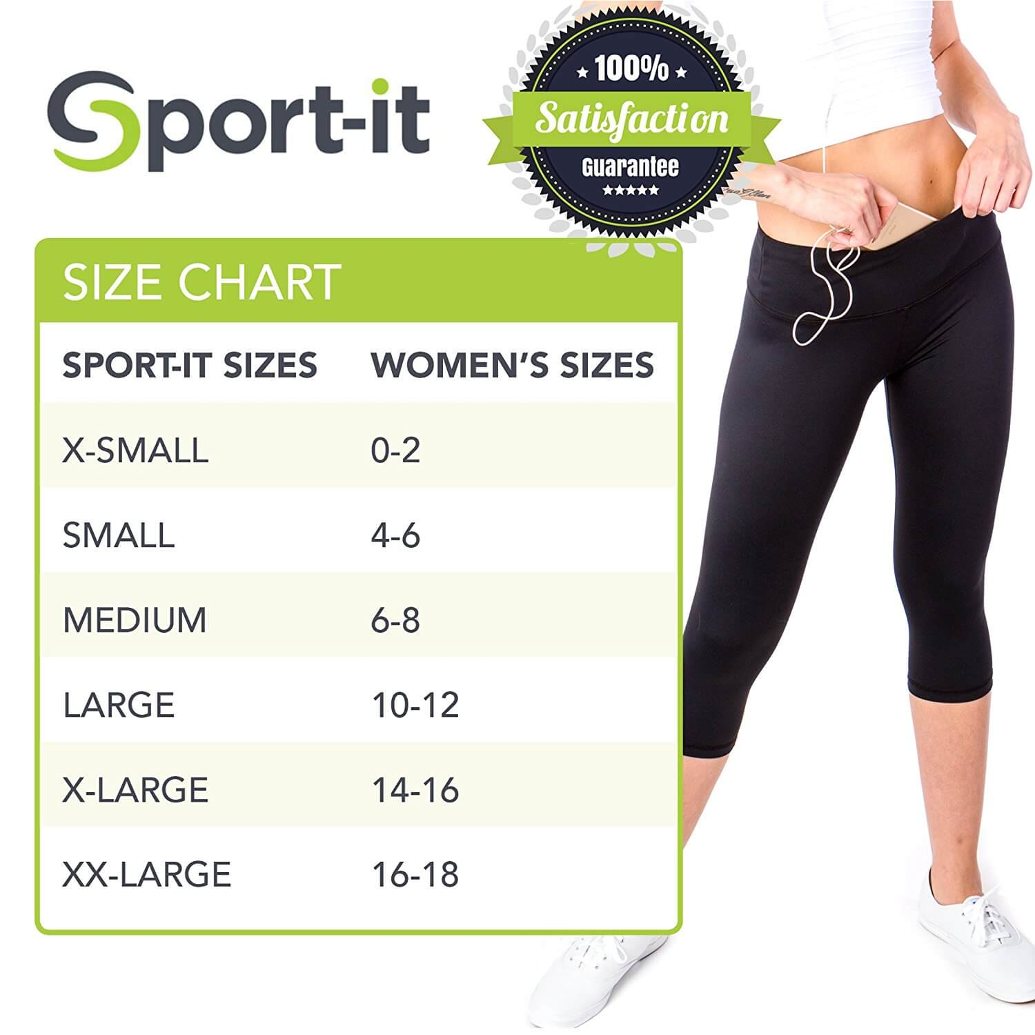 Go Sport-it: CAPRI LEGGINGS with Pocket and Tummy Control