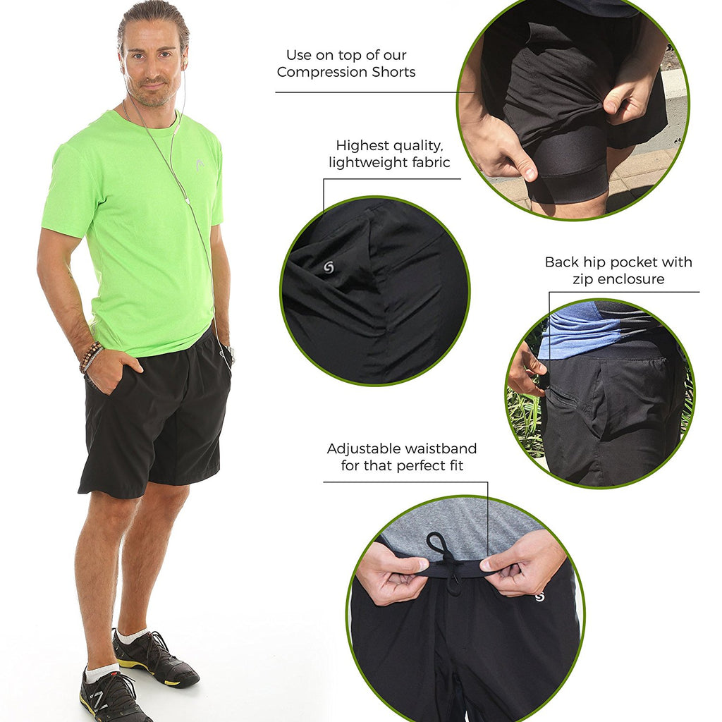 Go Sport-it: MEN'S ATHLETIC SHORTS with Zip Pocket and Side Pockets