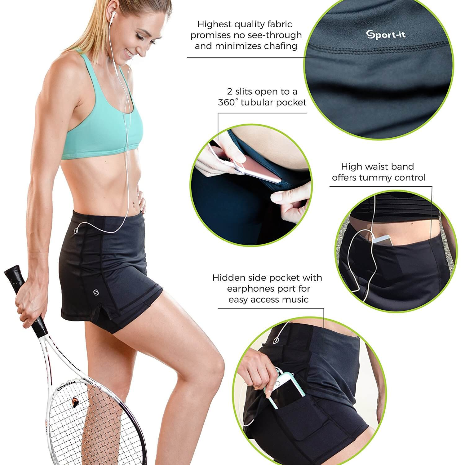 Go Sport-it: TENNIS SKORT with Built-in Shorts, Pockets, Tummy Control