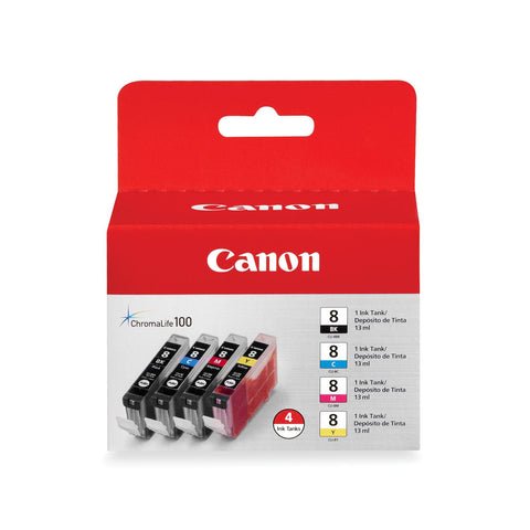 Canon 8 4 Ink Tanks (Black, Cyan, Yellow, Magenta)