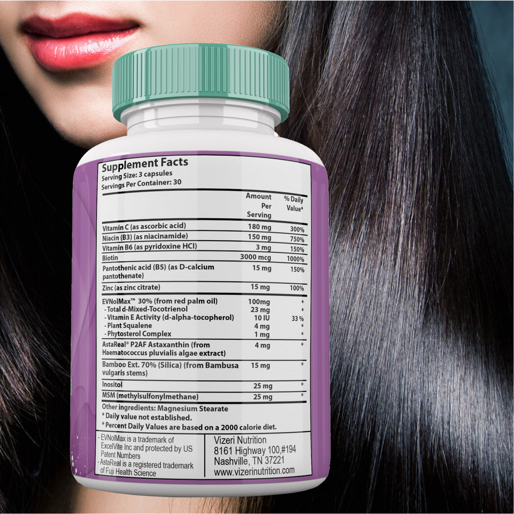Hair Skin and Nails Vitamins Have 5 Patents, Over 50 Clinical Trials, Anti Aging Health Benefits Address Root Cause of Dry, Skin, Hair and Nails. With Biotin