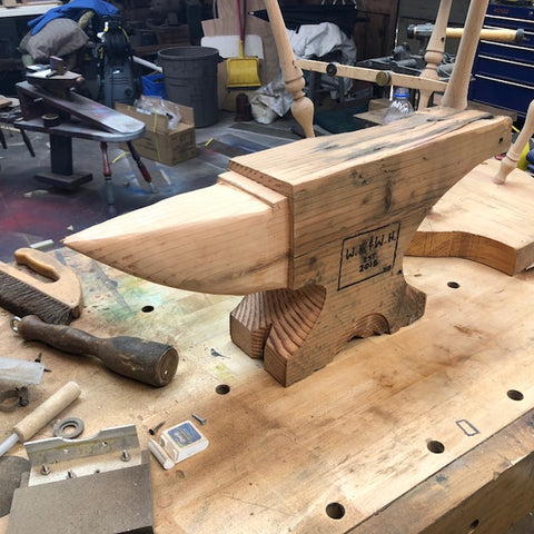 In process, these anvils are carved from Douglas Fir nearly 200 years old.