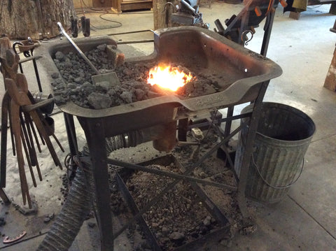 Walter's 1890 Buffalo Forge is used daily to produce custom iron work.