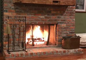 Our Warm Mornings Fire Tool Set is perfect for a shallow hearth and gives you storage in a 20 inch space.