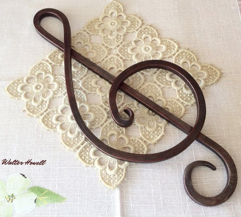 Forged Iron Treble Clef in Mahogany Red Patina. Artisan Made Music Symbol.