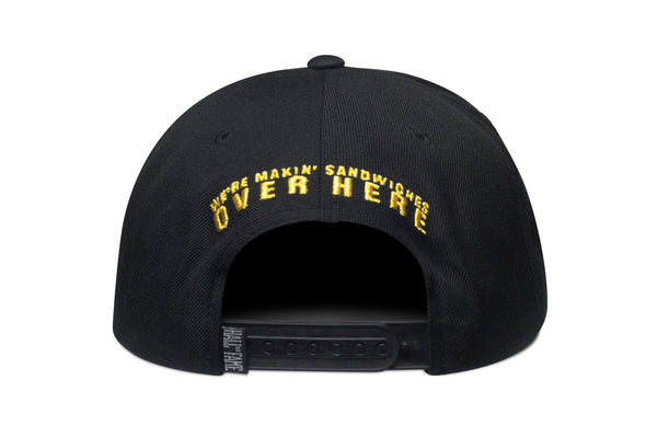 Fat Sal's + Hall of Fame: Black Snapback w/ Metallic Gold Lettering