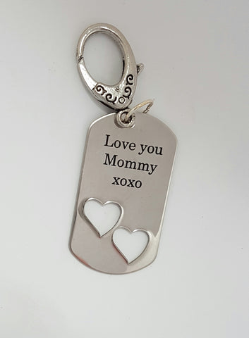 Sterling Silver (heart) Engraved Word Key Tag