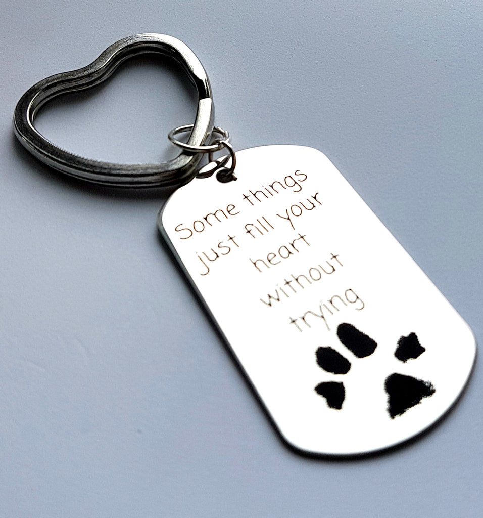 Some things just fill your heart paw print key tag