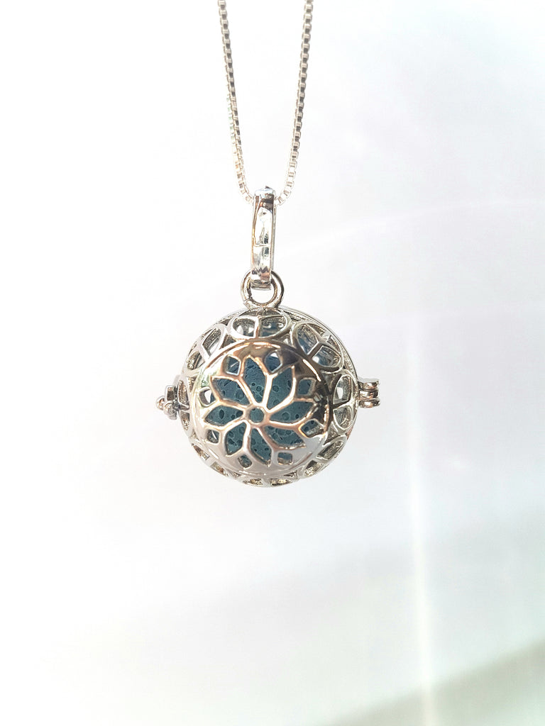 Beautiful Silver Infuser Locket with Lava Stone