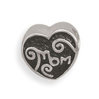 "Heart Shape ""Mom"" Bead"