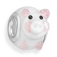 Pink and White Piggy Bead