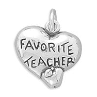 Heart Charm with Favorite Teacher and Apple