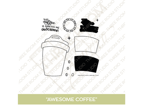 """Awesome Coffee"" Clear Stamp Set"