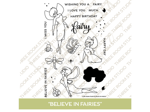 """Believe in Fairies"" Clear Stamp Set"