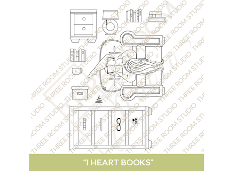"""I Heart Books"" Clear Stamp Set"