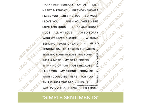 """Simple Sentiments"" Clear Stamp Set"