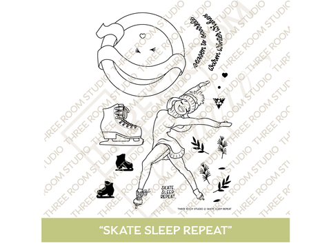 """Skate Sleep Repeat"" Clear Stamp Set"