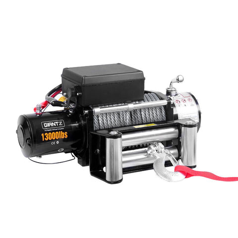 12V 13000 LBS Wireless Steel Cable Electric Winch by Giantz - All Winches - Giantz - 1