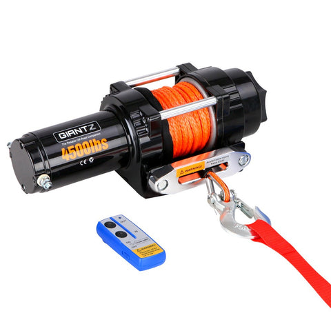 4500lbs Electric Winch ATV 4WD Synthetic Rope w/ Remote FREE SHIPPING!! - All Winches - Giantz - 1