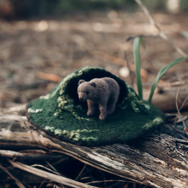 bear cave felted play set