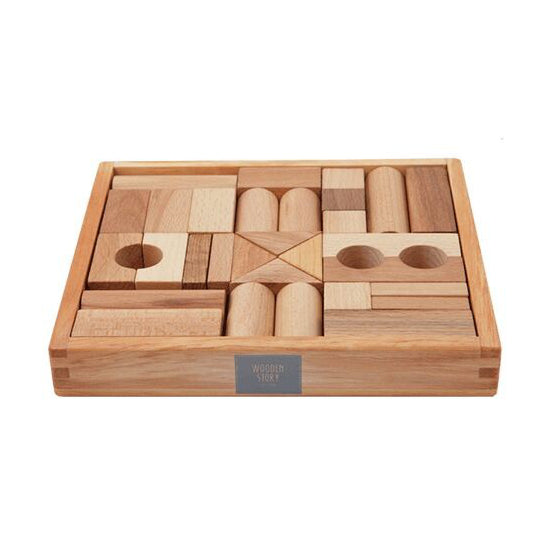 natural wooden block set - 30 piece