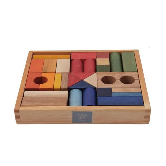 rainbow wooden block set - 30 piece