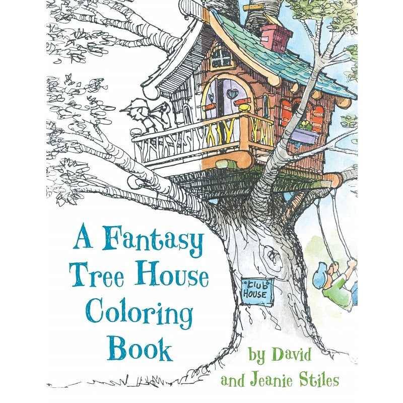 a fantasy tree house colouring book