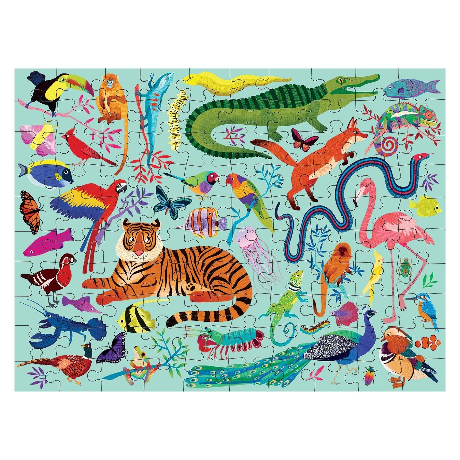 animal kingdom double-sided puzzle - 100 piece
