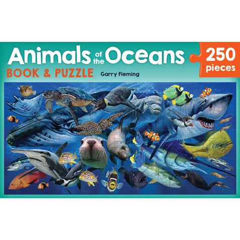 animals of the oceans book and puzzle - 250 pieces