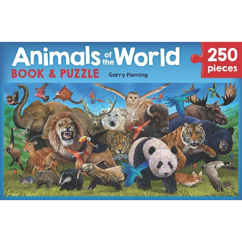 animals of the world book and puzzle - 250 pieces