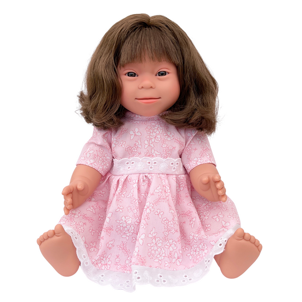 long, brown haired girl with down syndrome features