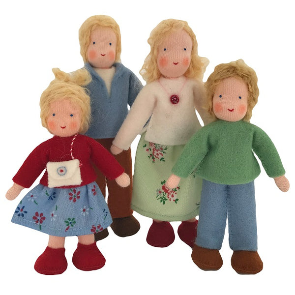 blonde hair dollhouse family