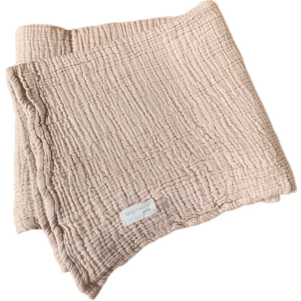 luxe cotton baby blanket - dusty pink