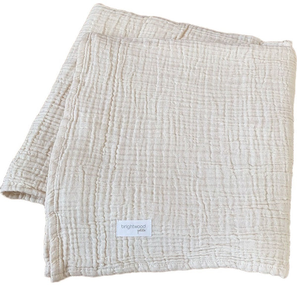 luxe cotton baby blanket - natural