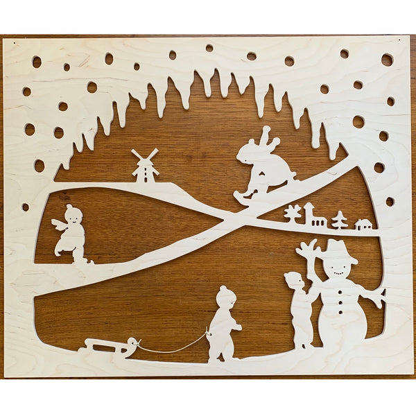 large wooden winter silhouette