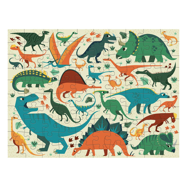 dinosaur dig double-sided puzzle - 100 piece