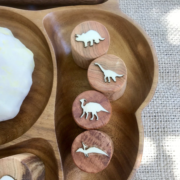 dinosaur wooden play dough stamps